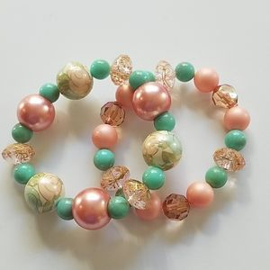 Handmade NWOT Green and Pink Bracelets